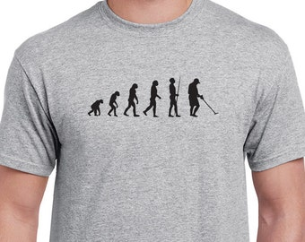 Metal detecting evolution T-shirt. Great gift for the metal detector enthusiast in your life.