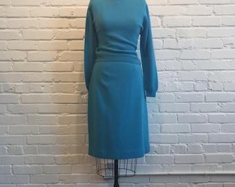 1960s Blue Jantzen 2 Piece Set // 60s Blue Sweater and Skirt Set // Vintage 1960s Jantzen Sweater Set
