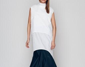 Women's Designer Blouse, Long Turtleneck Top, Womens White Top, White Blouse, Winter Top, Japanese Clothing, Loose Top, Turtleneck Top