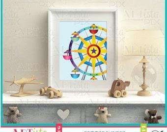 Nursery Wall Art, Ferris Wheel Wall Art, Circus Wall Art, Fair Wall Art, Printable Wall Art, Instant Download