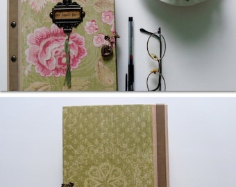 Romantic scrapbook photo album for your Valentine. Paper bag flower pink and green vintage style journal, diary.