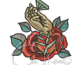 MACHINE EMBROIDERY DESIGN - Old school tattoo embroidery, hand with brilliant embroidery, brilliant embroidery