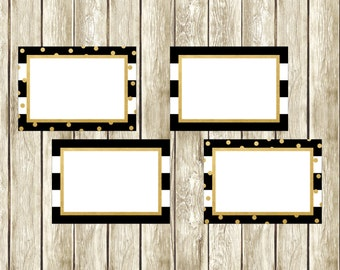 Black White and Gold Food Labels, Printable Food Labels, Digital Food Labels, Printable Labels, Faux Gold, Bank Food Labels , 003, 014