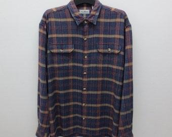 LL Bean Shirt Men Size M Vintage LL Bean Button Up Shirt LL Bean Vintage Plaid Shirt