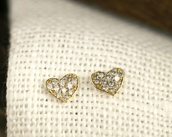 Pave Diamond Heart Earrings, tiny heart studs, clustered diamond dainty heart earrings, 14k solid gold, yellow rose white gold, hea-e103-dia
