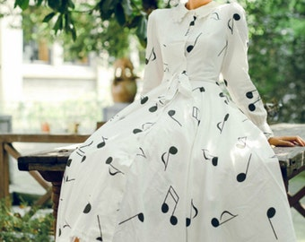 Walking in the Music Collection white base dark grey music score princess dress