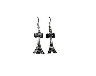 Eiffel Tower Dainty Earrings ~ Paris Love Bow Europe