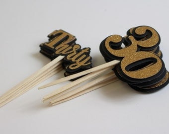 Black & Gold Glitter Thirty Cupcake Toppers, Set of 12, Birthday/Anniversary, Gold Glitter, Cupcake Decor, Handcrafted Party Decor