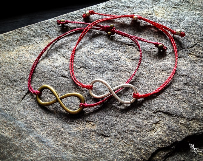 Red string bracelet big Infinity sign yoga meditation crimson thread symbol boho jewelry kabbalah by Creations Mariposa