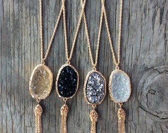 Druzy Long Necklace, layered Necklace, Long Necklace Pendant, Long Statement Necklace, Long Stone Necklace