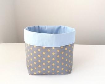 Storage basket, Blue nappy caddy, Diaper storage basket, Boy nursery, Change table caddy, Diaper holder, Nappies storage bin, Blue grey gold