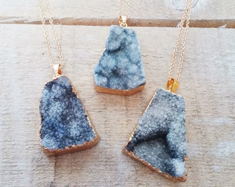 GALAXY - Blue Sparkling Gold Plated Agate Necklace // Druzy Pendant // Geode Necklace // Boho Jewelry // Natural Gemstone Necklace