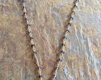Iolite and citrine gemstone gold necklace
