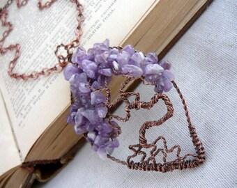 Tree of life pendant Amethyst tree of life necklace Copper pendant Amethyst pendant Copper necklace Amethyst necklace Purple stone pendant