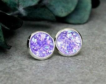 Purple Druzy Earrings, Purple Stud Earrings, Purple Earrings, Purple Druzy Studs, Purple Post Earrings, Faux Druzy Earring, Gift For Her