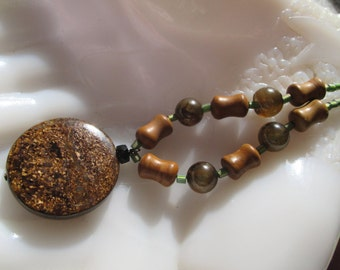 Genuine Bronzite Stone Pendant with Jasper and Agate Beads