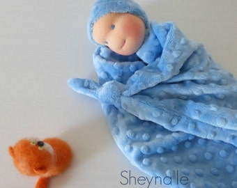 lovey blanket doll, Waldorf first doll, knot doll, baby gift, newborn gift, blue plush toy, homemade, first birthday, lovey doll