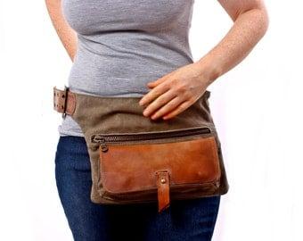 Hip Bag - Fanny Pack - Traveler Bag - Utility Hip Belt - Hip Pouch-Handmade cotton distress Leather Bag