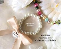 Girl Bow Bracelet-Flower Girl Bracelet-Flower Girl Gift-Ribbon Bracelet-Girl Bracelet-Junior Bridesmaid-Glass Pearl Bow Flower Girl Bracelet