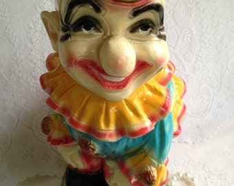 RARE 1940's Chalkware Carnival prize ~ extra large clown piggy bank~ pristine condition