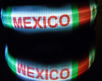 Mexico flag LED dog collar w/ glow lights; Our Lady of Guadalupe, MX Chi dog collars