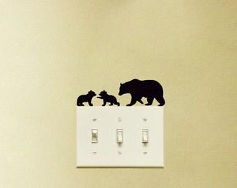 Three Bears Velvet Stickers - Grizzly Bear Wall Decal - Mama Bear Laptop Sticker - Bear Cubs Window Decals - White Polar Bear Wall Art