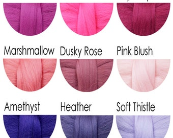 Merino Wool Tops - pinks and purples - 36 colours for felting and spinning