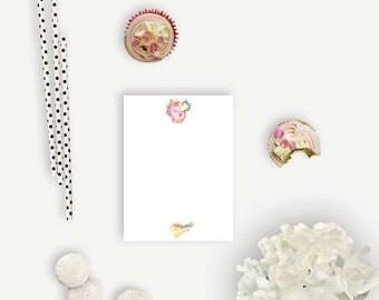 Mini Personalized Notepads - Watercolor Unicorns - Personalized Notepads - 25-50 Pages