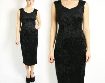 Vintage 70's 80's Black Velvet Bodycon Party Evening Dress
