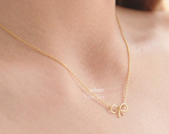 Dainty Petite Gold Ribbon Bow Knot Necklace