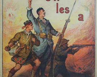 """1918 French WWI Propaganda Poster for War Shares """"Emprunt de la Libération"""" - Original Vintage Poster"""
