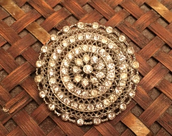 Silver Tone Filigree Clear Rhinestones Brooch, Round Silver Filigree Rhinestone Brooch Pin