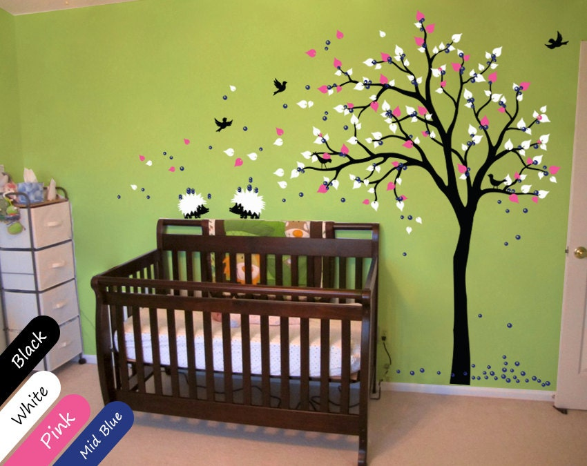 Modern baby nursery wall decals tree wall decal tree decal for Baby nursery tree mural