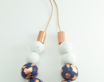 Beaded Clay Leather Cord Necklace// Statement Clay Necklace//Copper and Clay Necklace