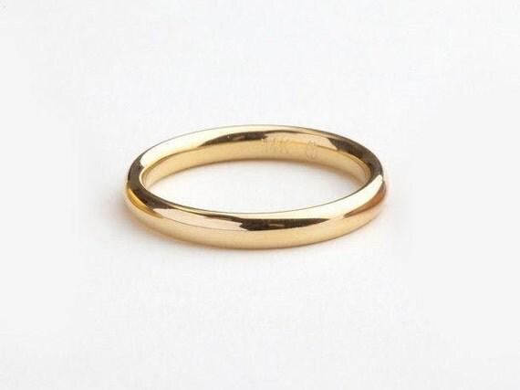 Gold Wedding Ring Minimal Yellow Gold Ring Man Simple