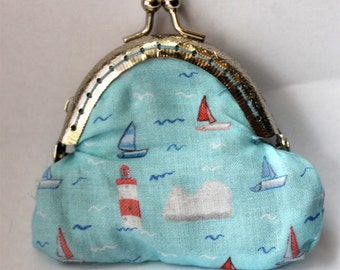 Little Isle of Wight Coinpurse- Purse- boats- waves- Cowes Week- Sailing- sunshine- nostalgia- English seaside- Dover, change purse