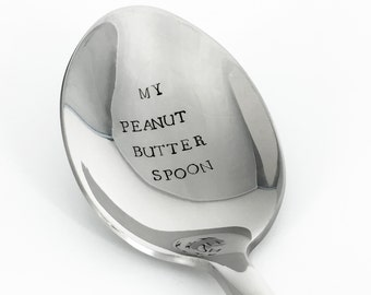 Peanut Butter Spoon | Hand Stamped Spoon | Personalized Silverware | Gift for Coach | Gift for Foodie | Birthday Gift | Bodybuilder Gift
