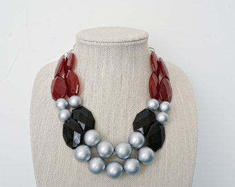 Dark Red, Black, and Silver Beaded Statement Necklace