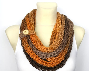 Knit Cowl Scarf - Knitted Women Scarf - Knit Loop Scarf - Crochet Shawl - Knit Chain Scarf - finger knit Scarf - Chunky Infinity Scarf