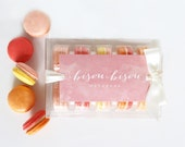 "French Paris Macaron Gift Edible ""Fruit Collection"" Raspberry, Strawberry,Blood Orange, Lemon, Peach  Edible Macarons Gift Boxed Bisou Bisou"