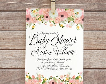 baby shower invitation floral invite baby printable invitation baby shower invite  digital diy watercolor flowers invite baby girl shower 95