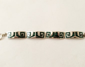 "Sterling Silver And Malachite Toggle Bracelet 6"" Great for smaller wrist"