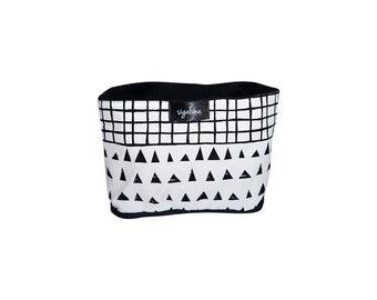 Storage bucket, Lined Fabric Bucket, Triangles and Grid Pattern, 100% Cotton Room decor Scandinavian design Housewarming Gift