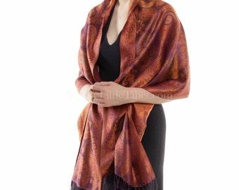Ferraro Orange & Purple Silk Pashmina shawl/scarf/stole/wrap (PG35) Free UK Shipping