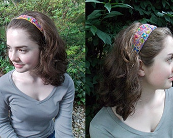 SALE HEADBANDS 4 Colors Aqua, Blue and Lavender Each Sold Separately Wool Embroidery and Fabric Lining