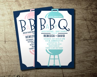 Modern co-ed BBQ baby shower invitation, Couples babyQ | Available in Blue | Red | Green | Pink | gender neutral custom babyq invitations