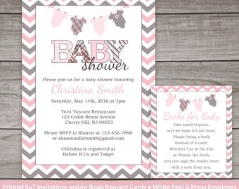 Pink and Grey Chevron Baby Shower Invitations for a Girl - Printed Invitations and Envelopes - Girl Baby Shower -  Baby-158