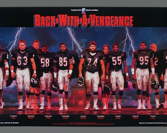 1987 Poster Chicago Bears Back With A Vengeance 36 x 20 Size Poster Football WGN Radio Chevrolet