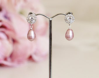 Dusty Pink Pearl Earrings Wedding Bridesmaid Jewelry Pink Wedding Bridesmaid Gift Earrings Blush Pink Earrings Pink Pearl Bridal Earrings