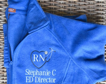 Fleece Jacket, Full Zip, Women's, Nurse's, monogrammed